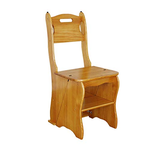 MU Klappbarer Tritthocker, Rutschfester Sitzbezug aus Holz Bibliothek Schlafzimmer Wohnzimmer Leicht zu verstauen 34 X 49 X 85 cm -