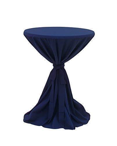 Dynamic24 Premium Gastro Stehtisch Husse Ø 80-90cm Tischhusse Bistrotisch Tisch Überwurf Tischdecke blau