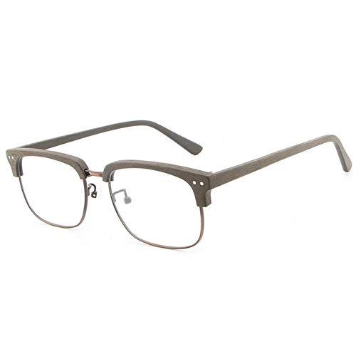 New Imitation Holz Halbrahmen Brillengestell Vintage Hand Augenbrauenplatte Männer und Frauen Holzmaserung Flachglasrahmen Brille (Color : Coffee)