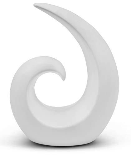 FeinKnick Stilvolle Skulptur aus Keramik - modernes Geschenk zum Valentinstag - Dekoration in Weiß - Deko Spirale 20 cm hoch - auch gut als Geschenk geeignet