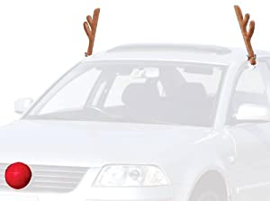28 Cm Plush Rudolf The Reindeer Antlers and Red Nose Car Set - Christmas Festive Accessory