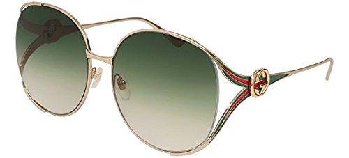Gucci Damen GG0225S 003 Sonnenbrille, Gold (3/Green), 63