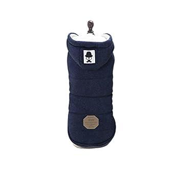 Vetement Chien/Chat Angelof Manteau Pull D'Hiver à Capuche Chaude Pour Choit Hoodies Jacket Accessoires Pour Chien Manteaux (M, Marine)