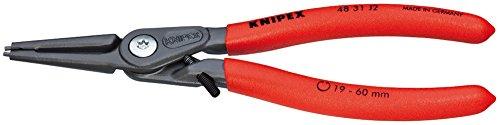 KNIPEX 48 31 J1 Pince de précision pour circlips pour circlips intérieurs d'alésage avec protection contre la distortion grise atramentisée gainées en plastique antidérapant 140 mm