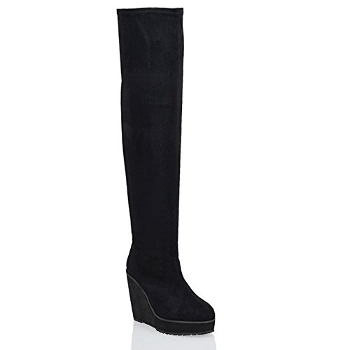 ESSEX GLAM Ladies Over The Knee High Platform Wedge Heel Womens Stretch Thigh High Boots (Heel Knee Platform Boot)