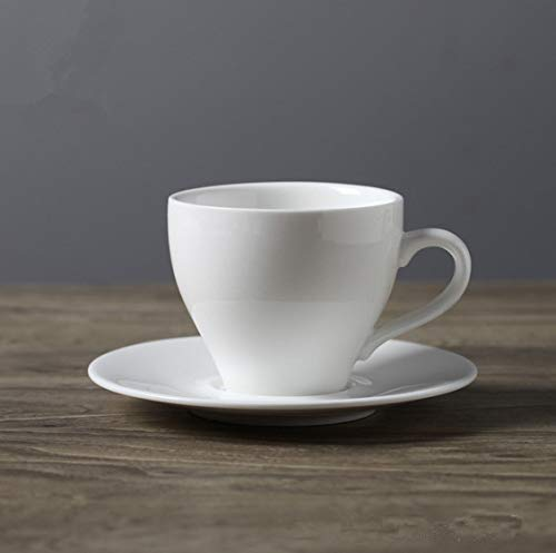 ahliwei Taza De Taza Set De Cerámica Creativa Taza De Café Europeo Puro Blanco Simple Taza De Café S2 Piezas K -