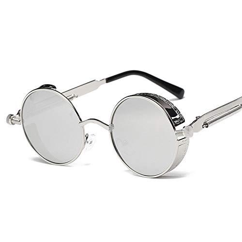 Qiutianchen Sonnenbrille Steampunk New Sonnenbrille Retro Metall Runde dicken Rahmen Sonnenbrille 100% UV 400 Schutzbrille@Silberrahmen weißes Quecksilber