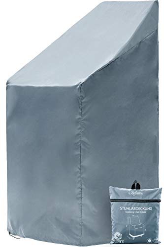 Chefarone Gartenstuhl Abdeckung - Wasserabweisende Schutzhülle für Stapelstühle - 250D Polyester - Winterfest durch Zugkordel - inklusive Aufbewahrungstasche - 67 x 67 x 110 cm (Schieferblau)