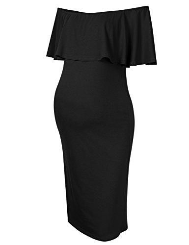 KoJooin Damen schulterfreies Umstandskleid Schwangerschafts kleid,elegantes Kleid für Schwangere Frauen off shoulder Kleider (Frauen Spandex Kleider)