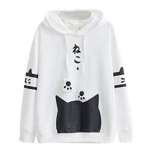 CICOCO Tolles Kostüm Für Jeden Tag Womens Girls Hoodies, Cute Kitty Cat Print Langarm zugeschnittenes Sweatshirt Sport Kapuzenpullover mit Tasche (Farbe : White, Größe : Large) (Kitty Cat Girl Kostüm)