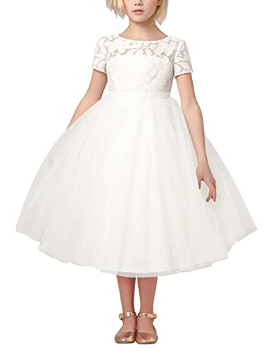 Tiaobug Mädchen Kinder Kleid Tüll Schichten Hochzeit Festzug Kleidung Blumenmädchen Kleider Festlich 92-140 Weiß 128
