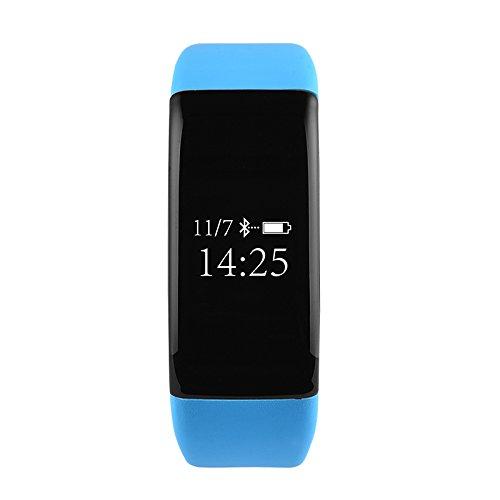 Preisvergleich Produktbild sumeber Fitness Tracker Smartwatch Armband Herzfrequenz Monitor IP68Wasserdicht Blut Drücken Monitor Schrittzähler Bluetooth 4.0Für Outdoor Running/Walking/empfehlen für iOS Android Smart Phone, blau