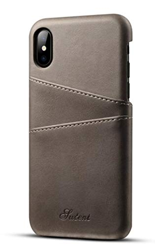Lozeguyc Schutzhülle für iPhone X/XS, 5,8 Zoll (5,8 Zoll), mit Kreditkartenfächern iPhone XR 6.1 Inch[2018] grau -