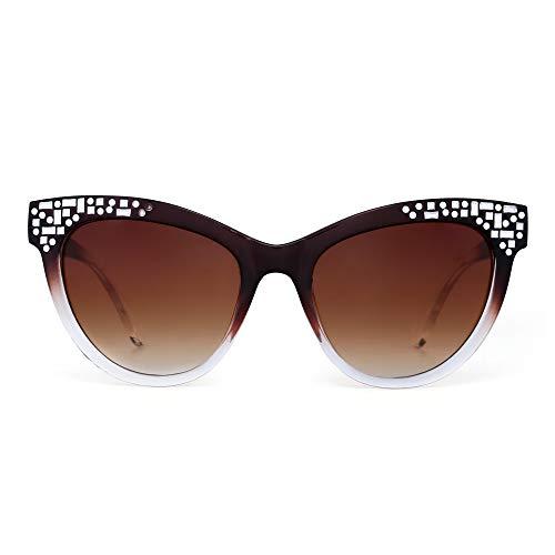JM Luxus Verschönert Katzenauge Sonnenbrille Gradient Designer Schatten Damen UV400(Braun/Gradient Braun)