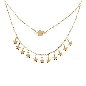 Damen Halskette mit Sternen, doppelt Faden aus vergoldetene 925 Silber – Linea Italia Juwele – Made in Italy