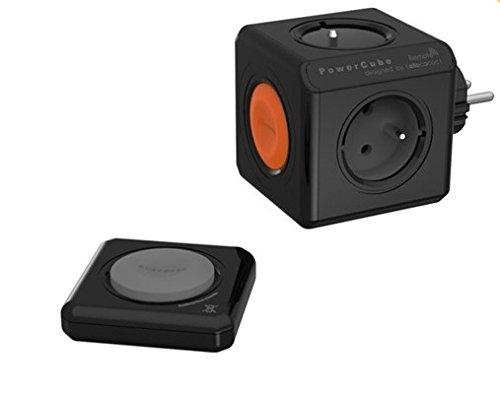 allocacoc Eco PowerCube Remote Original, 1510BK/Euorrm, Schwarz mit Fernbedienung, schaltbare 4 Fach Steckdose Zum Stromsparen, 230V Schuko
