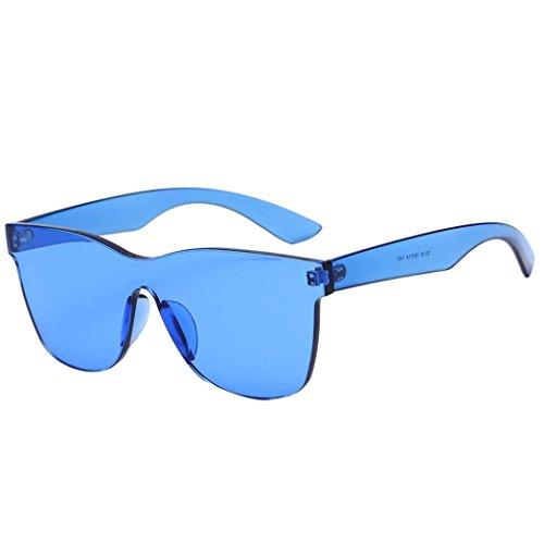 Dragon868 Sonnenbrille Damen Quadrate Shades Sonnenbrille Integrierte UV Candy Colored Glasses (Blau, Sonnenbrille)