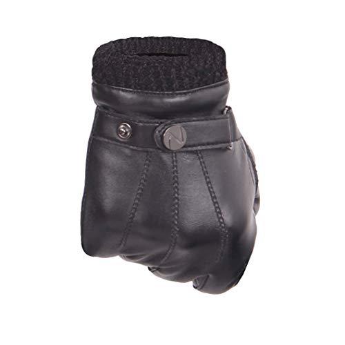 Nappaglo Herren PU Lederhandschuhe - Touchscreen Handschuhe Mit Langen Fleecefutter Winter Fahren