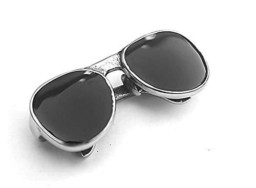 FHIKLW Halsketten, Ketten Für Herren,Titan Stahl Schwarz Sonnenbrille Anhänger Edelstahl Halskette Herren-Stil Schwarz Superschmuck
