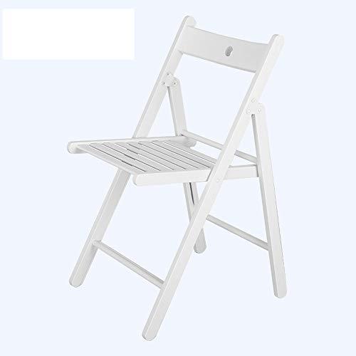 QQXX Holzklappstuhl einfacher moderner Klappstuhl Freizeit im Freien Kleiner Holzklappstuhl weiß, A