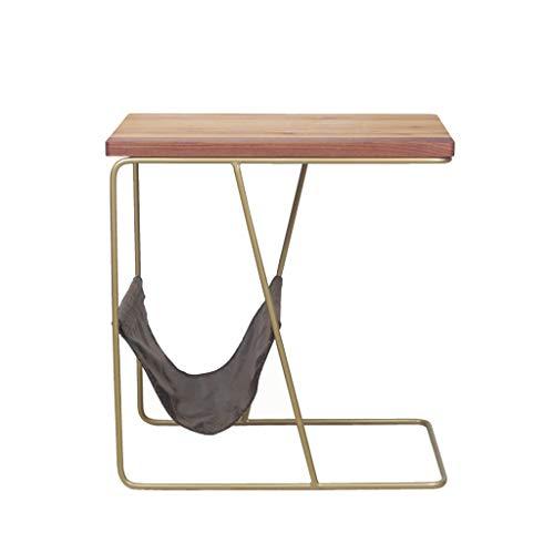 JKL- Notebookständer Nachttisch, Home Living Room Sofa Beistelltisch Massivholz + Schmiedeeisen Nachttisch - Handwerker Wohnzimmer Stuhl