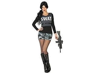 Atosa-17525 Disfraz Mujer policía swat, Color Negro, XL (17525)