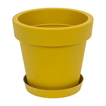 Yellow flower pot image collections flower decoration ideas amazon mygift set of 2 modern decorative folded design small green grass in a yellow flower pot mightylinksfo