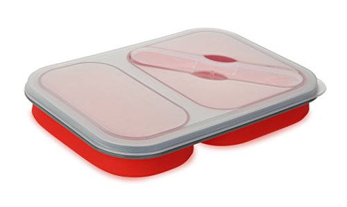 Contenitore vaschetta porta pranzo a due scomparti estendibili in silicone