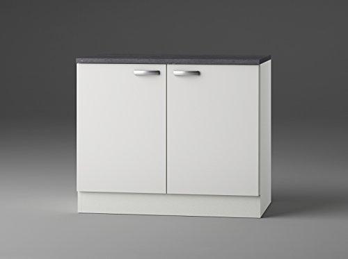 idealShopping GmbH Spülenunterschrank mit Arbeitsplatte ohne Einbauspüle SAPLO106-9 in weiß glänzend