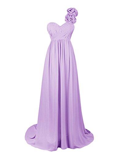 Dresstells, Robe de soirée Robe de cérémonie Robe de gala épaule asymétrique bustier en coeur traîne moyenne une ligne avec fleur Lavande