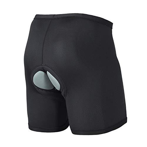 Baleaf Herren Gel 3D Radunterhose mit Sitzpolster Fahrrad Unterwäsche mit Gummibund Atmungsaktive Mesh Schwarz Größe L