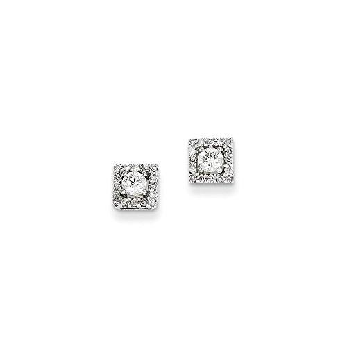 14K Weiß Gold 0,13ct Diamant Quadrat Post Ohrringe, Diamant ctw 0,13 (Diamant-ohrringe Quadrat)