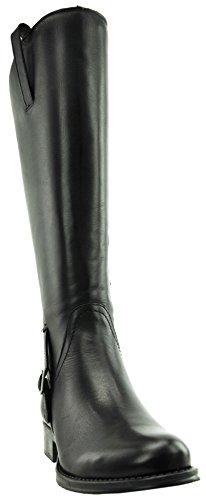 JJ Footwear Damen Stiefel Leder Sydney XXL Schwarz Nappa Capri