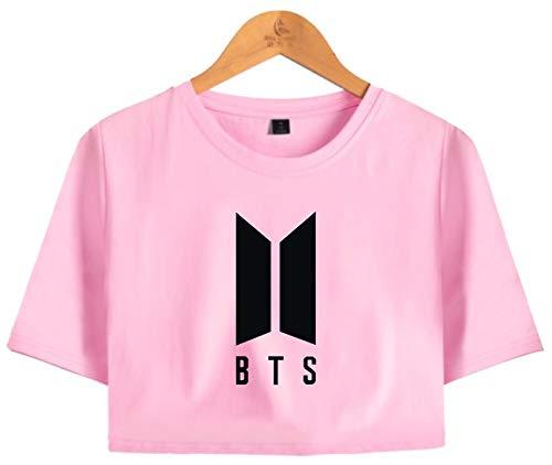 2d512537316 SERAPHY Unisexe KPOP Shirt BTS Crop top T-Shirt für Army Bangtan Boys  Midriff rosa