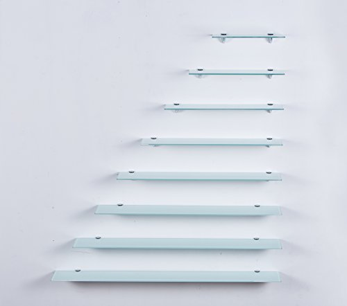 Euro Tische Glas Wandregal Weiß - Glasregal mit 6mm ESG Sicherheitsglas - perfekt geeignet als Badablage/Glasablage für Badezimmer - Verschiedene Größen (40 cm)