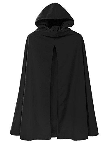 ing Herbst Klassisch Kapuzen Kap Einfarbig Pelerine Beiläufig Split Vorne Umhang Cape Cloak Jacke Mantel Oberbekleidung Schwarz DE 36 (Kapuzen Cape)