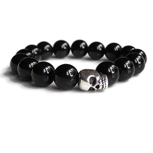 Mens Skull Armband mit schwarzem Onyx