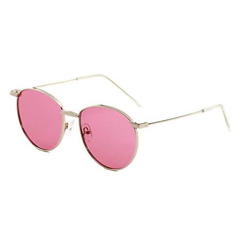 YHgiway Retro Round Polarized Sonnenbrillen für Männer Damen Metall-Frame Sun Brille UV400 Protection Fashion Eyewear YH7370,SilverFrame/PinkLens
