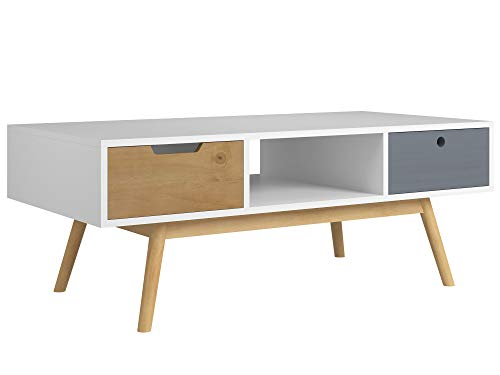 VS Venta-stock Table Basse Leti Blanc, Fabriqué en Bois de pin Massif, 2 tiroirs, 110 cm