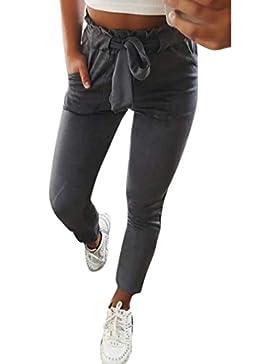 bd7b8e5da26563 Elecenty Pantaloni Donna Eleganti Casual Pantaloni a vita alta con elastico  da donna fiocco Estivi Taglie