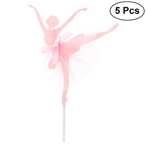 Amosfun 5pcs Ballerina Girls Cupcake Topper Cake Decoration for Wedding Bridal Shower Birthday Party (Pink)