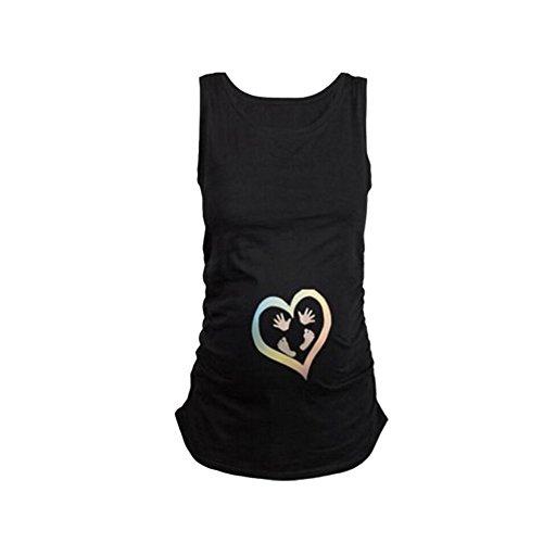 Q.KIM Witzige Maternity Damen Schwangerschaft Westeober T-Shirt Tank Top für Schwangere Ärmelloses-Heart,Schwarz XL (Maternity T-shirt Mama)