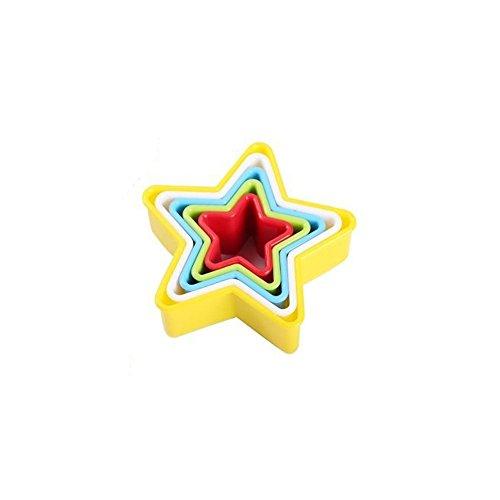 Cookie Cutter Set, 5x Blume Form Kunststoff Ausstechformen für Sandwich schlamm Gestaltung bunten Kuchen Cutter für Backen Dessert macht, plastik, Star Shape Cookie Cutters, 18x16x6cm