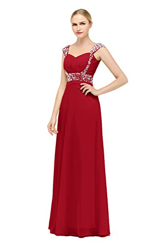Bbonlinedress Robe de cérémonie Robe de soirée emperlée forme empire col en cœur longueur ras du sol Rouge Foncé