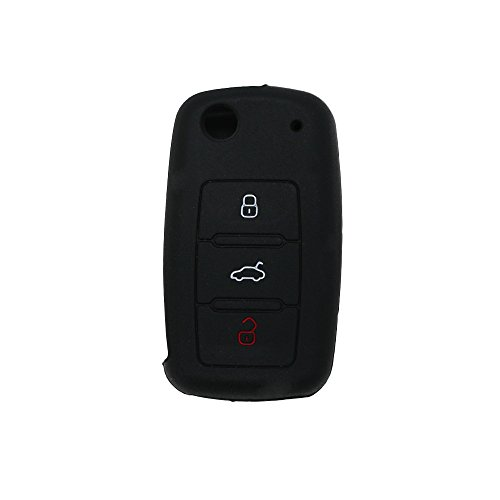 fassport-silicone-cover-skin-jacket-for-volkswagen-skoda-seat-3-button-flip-remote-key-cv2802-black
