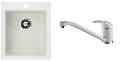 Evier granit carré sans égouttoir + mitigeur bec droit - BLANC