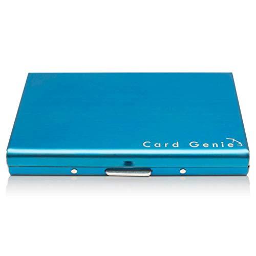 Porte-Cartes Métallique Pour Dames et Hommes avec la Technologie de Blocage IRF Acier Inoxydable Résistant à l'Eau 6 Fentes Protecteur de Carte de Crédit le Plus Fiable par de Card Genie (bleu)