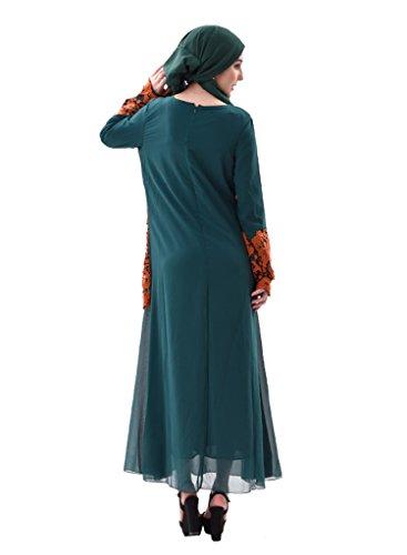 GladThink Frauen Malaysisches Dubai Bengal-muslimisches Kleid Grün ...