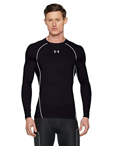 Under Armour Men's HeatGear Long Sleeve Compression Top, Black/Steel, Large