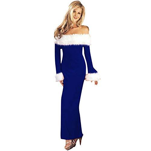 VECDY Damen Kleid,Weihnachten Geschenk- Herbst Weihnachtsbandrock exquisites Weihnachtskleid Trägerloses Kleid Cosplay Weihnachtspullover des Weihnachtskleides(Blau,40)